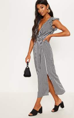 PrettyLittleThing Monochrome Stripe Satin Frill Shoulder Split Midi Dress