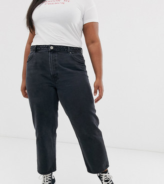 ASOS DESIGN Curve recycled florence authentic straight leg jeans in washed black