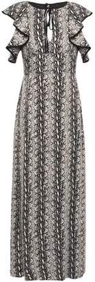 ALEXACHUNG Ruffled Snake-print Satin Maxi Dress