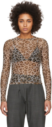 R 13 Beige Mesh Leopard Long Sleeve T-Shirt