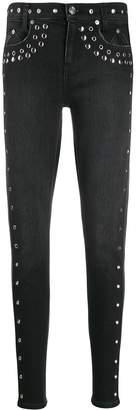 Current/Elliott studded high-rise skinny jeans