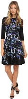 Donna Morgan 3/4 Sleeve Printed Scuba Fit and Flare Dress