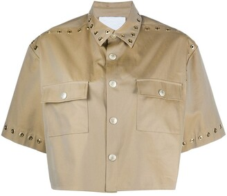 Koché Eyelet-Embellished Cropped Shirt