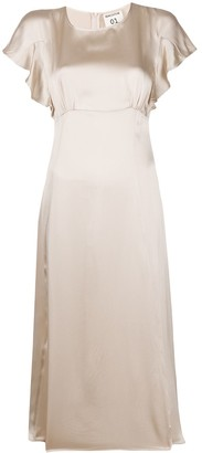 Semi-Couture Ruffled-Sleeve Midi Dress