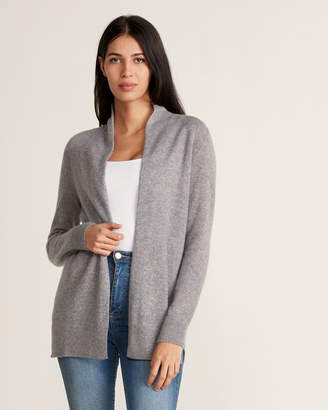Vertical Design Cashmere Ribbed-Accented Open Cardigan