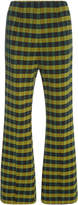 Marni Flared Checkered Wool Trousers