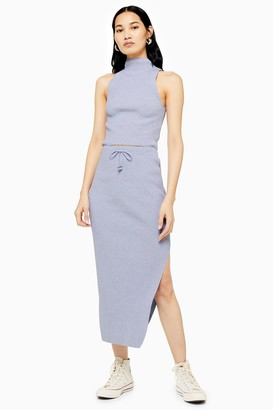 Topshop Womens Pale Blue Recycled Knitted Midi Skirt - Pale Blue