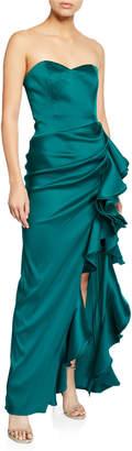 Badgley Mischka Strapless Column Gown w/ Bustier Bodice & Side Ruffle