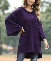 Z Avenue Women's Sweatshirts and Hoodies Dark - Dark Plum Bell-Sleeve Hooded Tunic - Women & Plus