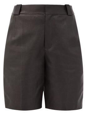 Saint Laurent Leather Bermuda Shorts - Womens - Black