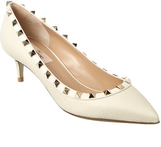 Valentino Rockstud 45 Grainy Leather Pump
