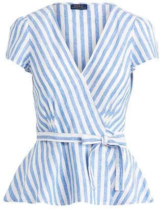 Ralph Lauren Striped Linen Wrap Blouse