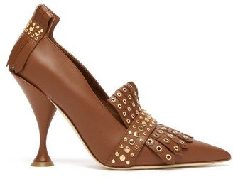 Burberry Goodall Studded Leather Pumps - Tan Gold