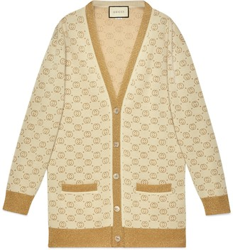 Gucci Interlocking G lame wool cardigan