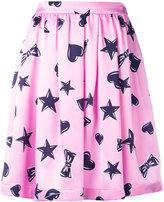 Moschino heart print skater skirt - women - Silk/Acetate/Viscose - 38