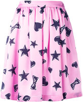 Moschino heart print skater skirt - women - Silk/Acetate/Viscose - 40