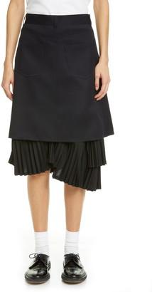 Comme des Garcons Backwards Ruffle Hem Wool Gabardine Skirt