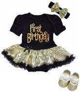 Kirei Sui Baby Gold Sparkle First Birthday Bodysuit Tutu Shoes