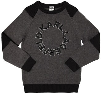 Karl Lagerfeld Paris Cotton Knitted Sweater W/ Logo Patch