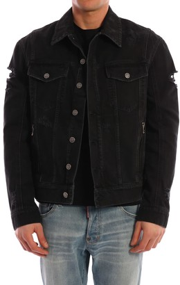 Balmain Logo Denim Jacket Black