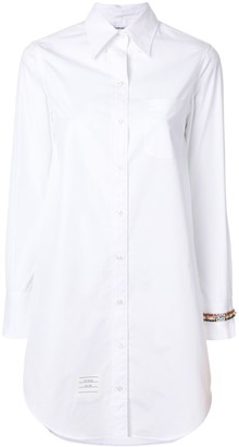 Thom Browne Classic Long Sleeve Button Down Point Collar Thigh Length Shirtdress With Jewelry Applique In Solid Poplin