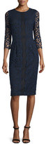 Erin Fetherston 3/4-Sleeve Lace Sheath Dress