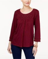 Style&Co. Style & Co Cotton Crochet-Trim Top, Created for Macy's