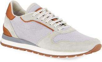 Brunello Cucinelli Men's Mesh/Suede Runner Sneakers