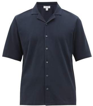 Sunspel Cuban Collar Cotton-pique Shirt - Mens - Navy