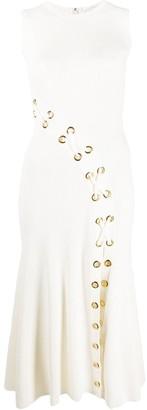 Alexander McQueen Ribbed Tie Detailed Midi Dress