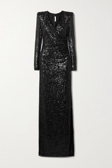 Thumbnail for your product : Naeem Khan Wrap-effect Draped Sequined Tulle Gown - Black