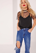 Missguided Lace Tee Overlay Cami Black