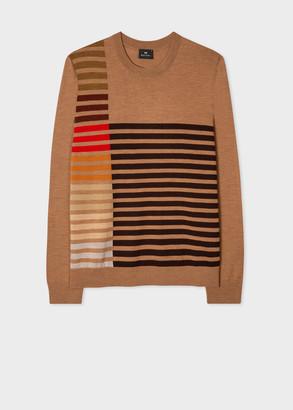 Men's Tan Merino Wool Sweater With Stripe Detail