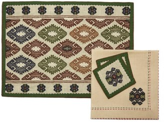 Vita Kin Bodrum Embroidered-linen Table Set - Green Multi
