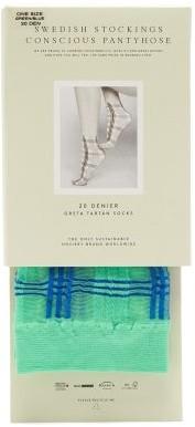 Swedish Stockings - Greta Tartan-jacquard 20-denier Socks - Dark Blue Mint