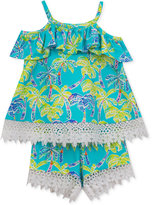 Rare Editions 2-Pc. Cotton Palm-Print Top and Shorts Set, Baby Girls (0-24 months)