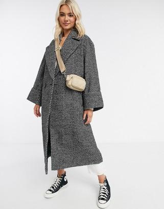 ASOS DESIGN oversized herringbone coat with cuff detail in mono