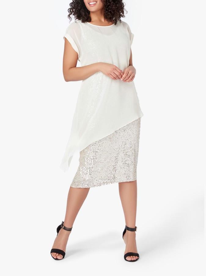 Live Unlimited Curve Chiffon Sequin Asymmetric Dress, Brown Mink