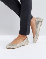 Call it SPRING Fibocchi Gold Heel Detail Flat Shoes
