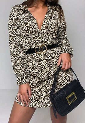 Missguided Stone Leopard Print Utility Shirt Dress
