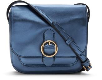 Banana Republic Mini Metallic Leather Saddle Bag