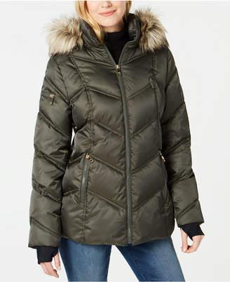Nautica Faux-Fur-Trim Hooded Puffer Coat