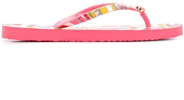 Tory Burch printed-strap thin flip flops