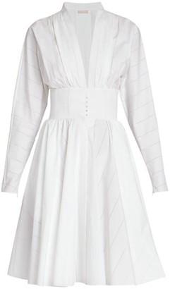 Alaia Pointelle Poplin Fit-&-Flare Dress