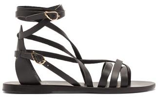 Ancient Greek Sandals Satira Wraparound Leather Sandals - Black