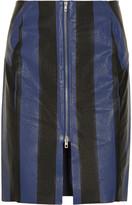 Acne Voila Stripe textured-leather pencil skirt