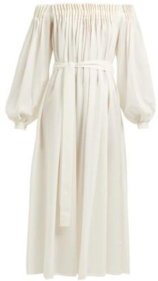 Gabriela Hearst Otalora Off-the-shoulder Wool-blend Maxi Dress - Womens - Ivory