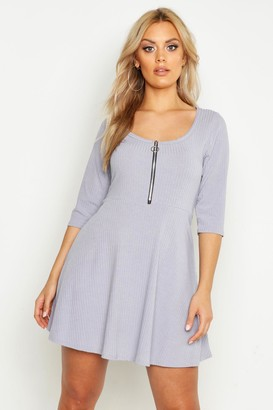 boohoo Plus Soft Rib Zip Front Skater Dress