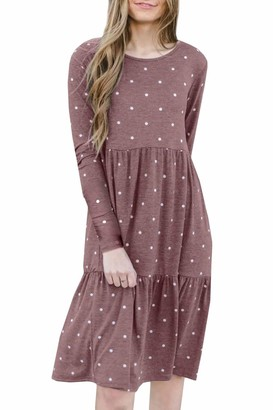 Spadehill Womens Pleated Layered Casual Long Sleeve Flowy Dotted Loose Cotton T Shirt Dress Purple XL