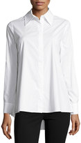 Neiman Marcus Long-Sleeve Swing-Back Blouse, White